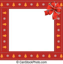 Christmas or new year square border frame with bells and snowflakes pattern and red bow