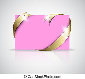Christmas or wedding card - Golden ribbon around blank pink ...