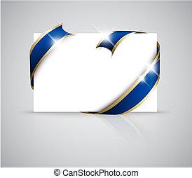 Christmas or wedding card - Golden ribbon around blank white...