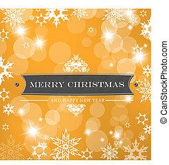 Christmas orange background with snow flakes.