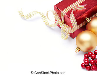 christmas ornament and gift with copy space