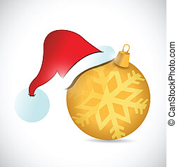christmas ornament and hat illustration