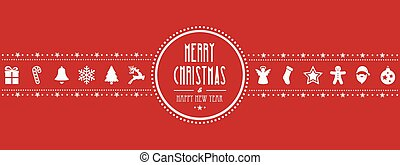 christmas ornament banner red background