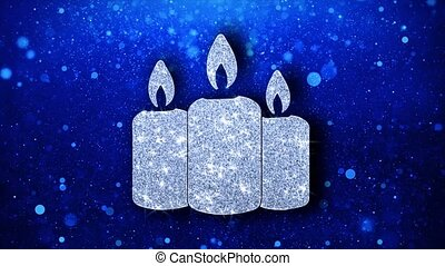 Christmas Ornament Candle Element Blinking Icon Particles Greetings, Invitation, Celebration Background
