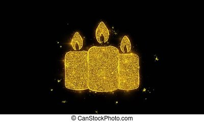 Christmas Ornament Candle Written with Golden Particles...