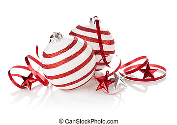 Christmas ornament. - Christmas balls with painted stripes ...