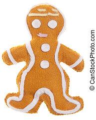 Christmas Ornament Felt Gingerbread Man Isolated