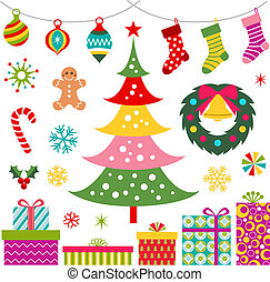 christmas ornament, gift and tree