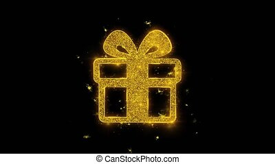 Christmas Ornament Gift Written with Golden Particles Sparks...