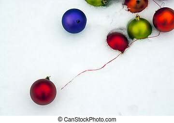 Christmas ornament in snow