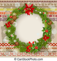 Christmas ornament on a patterned background grunge