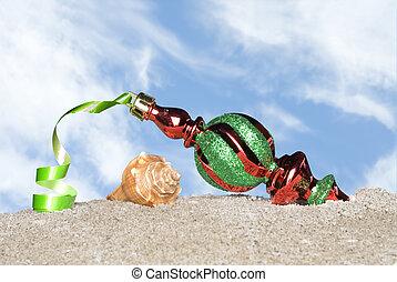 Christmas ornament on beach