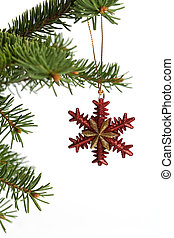 Christmas ornament - Red and gold color snowflake christmas ...