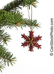 Christmas ornament - Red and gold color snowflake christmas ...