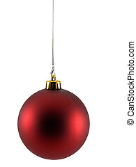 Christmas Ornament - Red christmas ornament isolated on a...
