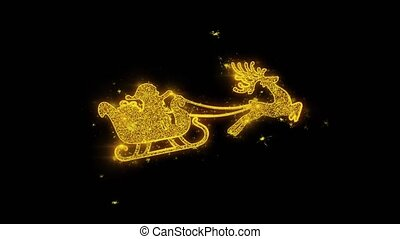 Christmas Ornament Santa Claus sleigh with deer Golden Particles Sparks Fireworks