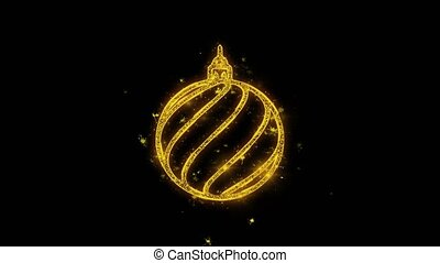 Christmas Ornament Sleigh Bell Golden Particles Sparks...