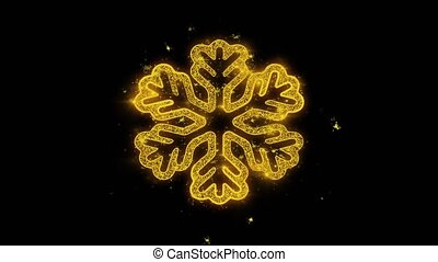 Christmas Ornament Snowflake Golden Particles Sparks...