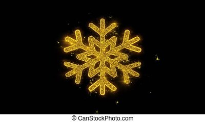Christmas Ornament Snowflake Written with Golden Particles...