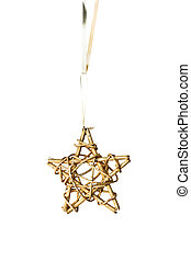 Christmas Ornament Star isolated on white with clipping path