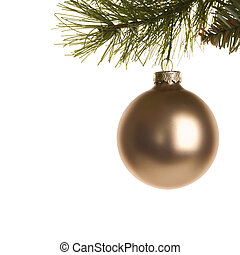Christmas ornament. - Still life of gold Christmas ornament ...