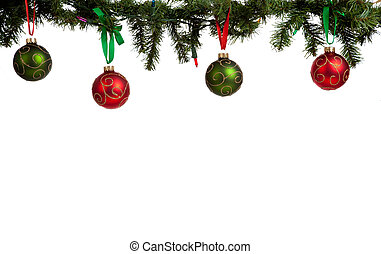 A christmas ornament border with red and green glittered baubles hanging from garland with red and green ribbon