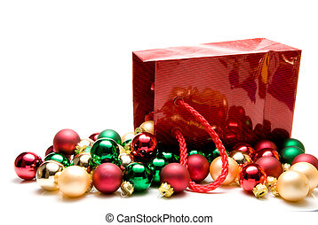 Christmas Ornaments - A pile of Christmas ornaments in a ...