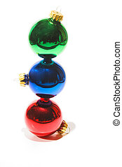 A very colorful set of Christmas ornaments.