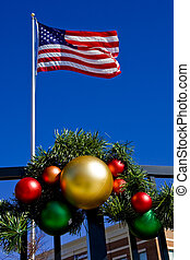 Christmas Ornaments and American Flag