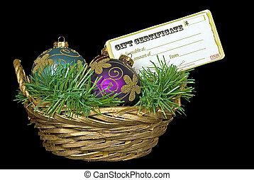 Christmas ornaments and gift certificate