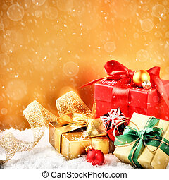 Christmas ornaments and gifts in golden and red tone