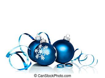 Christmas Ornaments and Ribbon - Christmas ornaments and...
