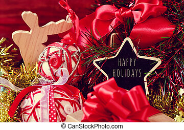 christmas ornaments and the text happy holidays