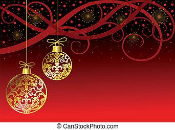 Christmas ornaments balls on red - Hanging christmas white...