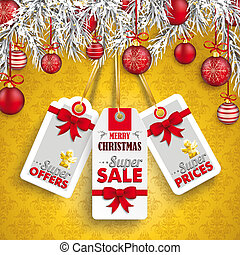 Christmas Ornaments Baubles Twigs 3 Price Stickers