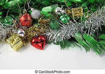 Christmas ornaments border decoration on white background