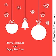 Christmas ornaments card - Red Christmas ornaments card....