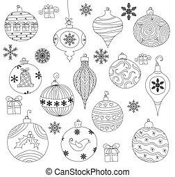 Christmas Ornaments - Hand drawn Christmas Ornaments...