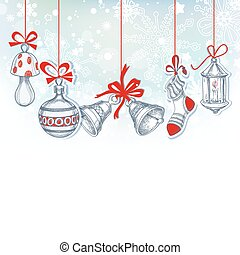 Christmas ornaments festive background