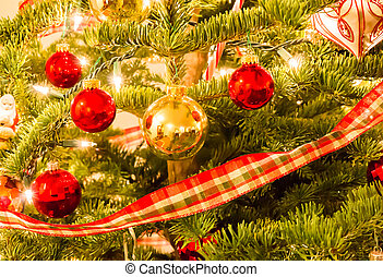 Christmas Ornaments Hanging on a Tree