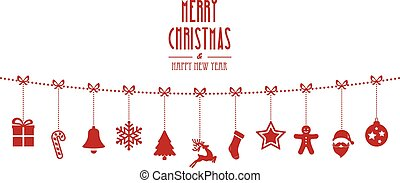 christmas ornaments hanging rope red isolated background