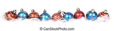 christmas ornaments in a row
