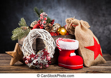 Christmas ornaments in a wooden crate