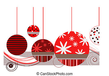 Christmas Ornaments in Red with abstract design on a white...