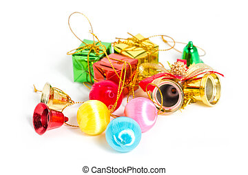 Christmas ornaments isolated on white.