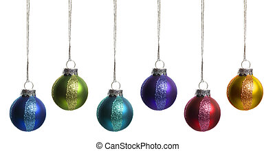 Christmas Ornaments Isolated on White. Super clean white background-- professionally isolated with clean edges and no grey. Carefully spotted and retouched.