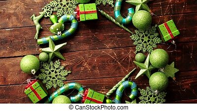 Christmas ornaments laid in circle