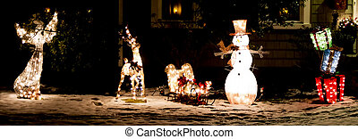 Christmas ornaments light up at night in front of a home