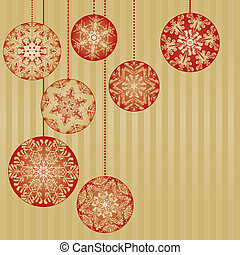 Christmas Ornaments on a Gold Background