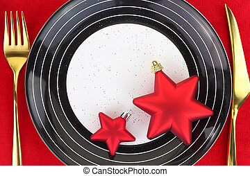 Christmas ornaments on a plate